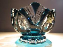 CAESAR CRYSTAL Azure Bowl Cut to Clear Overlay Czech Bohemian Cased Art Glass