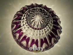 CAESAR CRYSTAL Purple Bowl Cut to Clear Overlay Czech Bohemian Cased Art Glass