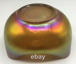 Carnival Imperial Art Glass Iron Cross 4 Sided Bowl With Aurene Iridescence