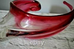 Chalet Console Bowl Lead Crystal Cranberry Canada Mid Century Art Glass Signed