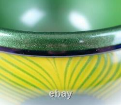 Charles Lotton 12 Art Glass Bowl Pulled Peacock Feathers Iridescent Aventurine