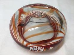Chunky Blenko Art Glass. Large Cigar Ashtray or Pinched Bowl. Mid Century Modern