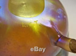 Circa 1905 LC Tiffany Gold Art Glass Vase/ Footed Bowl Signed Excellent No Res