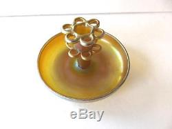 Circa 1927 LC Tiffany Gold Art Glass Flower Bowl & Frog. Signed Excellent No Res
