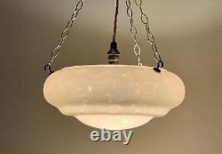 Classic Art Deco stepped Flycatcher Glass Bowl Ceiling Light with Pink Marbling