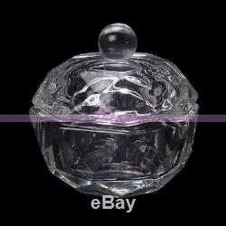 Clear Nail Art Crystal Glass Dappen Bowl Acrylic Liquid UV Powder Cup Container