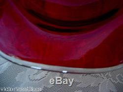 Collectible MidCentury Large Ruby Red Blown Art Glass Footed Compote Ruffle Bowl