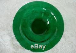 Collectible Vintage Deep Teal / Emerald Green Blown Art Glass Rimmed Bowl