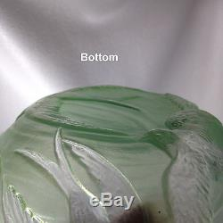 Consolidated Glass SWALLOWS Glass Bowl Martele in JADE Deco Shallow Bowl 9 1/4