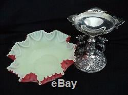 Cranberry Rubina cased art glass brides basket bowl Jaccard silverplate stand