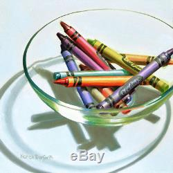 DANFORTH Crayons In Glass Bowl 6x6 still life realistic oil painting