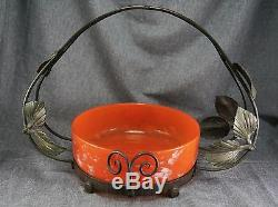 DAUM NANCY FRANCE Art Glass Bowl with Wrought Iron Holder