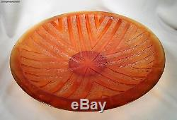 Daum France Large Pate De Verre Amber Art Deco Design Glass Bowl Centerpiece