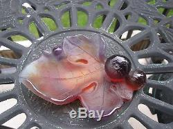 Daum Nancy France Pate De Verre Art Glass Berries and Snail on Leaf Signed