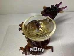 Daum Pate de Verre Art Glass Purple and Amber Dragon Holding Gold Bowl Coupe