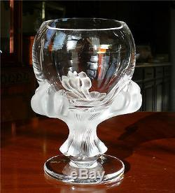 Dramatic Lalique France Bagheera Frosted Lion Paw 8-1/2 Pedestal Bowl