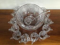 Duncan & Miller CARIBBEAN Clear Punch Bowl Set with Cups & Ladle Art Deco