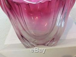 Early 20th C. Signed Steuben cranberry shading clear art glass bowl withshaped rim
