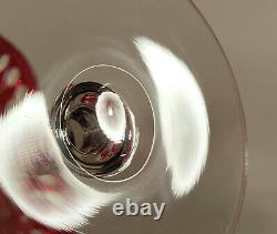 Elegant Vintage Ruby Cut Clear Art Glass Compote Tazza Pedestal Bowl Pairpoint