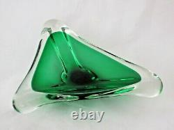 Emerald green Murano sommerso quality large art glass bowl candy dish