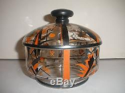 Exquisite Antique Painted #d Art Deco Abstract Moser Candy Dish Bowl Cover Jar