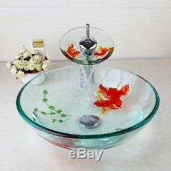 FA Round Bathroom Art Hand Painted Glass Basin Vanity Sink Bowl+Waterfall Faucet