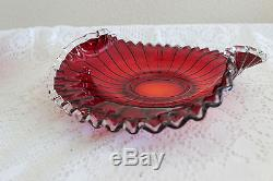 Fenton Red Ruby Silver Crest Edges Up Low Bowl Made For J Wilfred