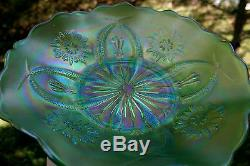 FOUR FLOWERS VARIANT ANTIQUE CARNIVAL ART GLASS LOW RUFFLED BOWLICE GREEN