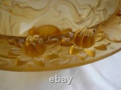 FRENCH ART DECO MOLDED GLASS TABLE CENTER PIECE, BOWL, SIREN PATTERN, 1930s YEARS