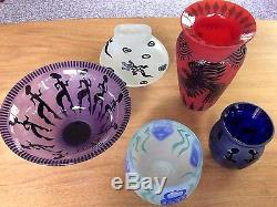 Fellerman Raabe'95 Purple Cameo Glass Bowl with African Motif Unique Art