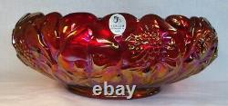 Fenton Art Glass Large Ruby Red Carnival Waterlily Bowl