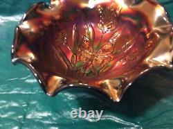 Fenton Art Glass NIB -Landmark Collection Marigold Butterfly Bowl. Signed