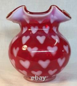 Fenton Art Glass Ruby Red Opalescent Rose Bowl With Heart Optic
