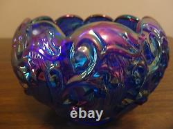Fenton Cobalt Blue Carnival Lily Of The Valley Rose Bowl Art Glass! QVC 1995