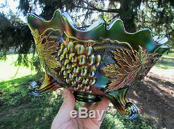 Fenton GRAPE & CABLE ANTIQUE CARNIVAL ART GLASS FTD FRUIT BOWLSCARCE GREEN