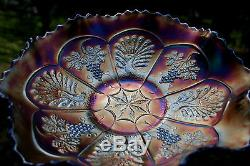 Fenton PEACOCK AND GRAPE ANTIQUE CARNIVAL ART GLASS RUFFLED BOWLRARE RED