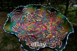 Fenton PEACOCK AND URN ANTIQUE CARNIVAL ART GLASS RUFFLED BOWLBLUESPECTACULAR