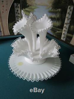Fenton Silver Crest set of 5 pieces, Epergne, bowl & cake platea5