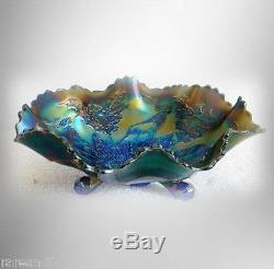 Fenton stag and holly art glass footed bowl in irridescent blue