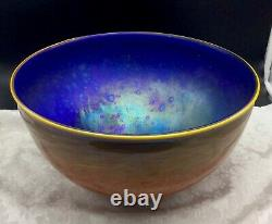 Field & Fields Large Planet Space Art Glass Bowl Sci Fi Signed 2003 Iridescent