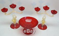 Fine & Large Vintage SALVIATI ITALIAN Art Glass Candelabra with Center Bowl MINT