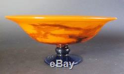 Fine MULLER FRES Luneville French Art Deco Glass Bowl Compote c. 1920s antique