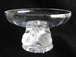 Fine Vtg Lalique Frosted French Crystal Nogent Sparrows Compote Bowl Dish France