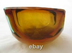 Flavio Poli faceted sculptural art glass bowl Murano Crystal Sommerso 50s 1.2kg