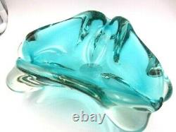 Freeform stunning teal blue Murano sommerso lobed triangle art glass bowl