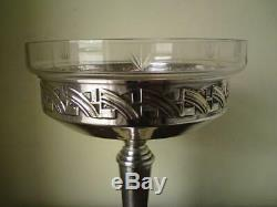 French Art Deco Clear Cut Glass Silver Plated Compote Fruit Bowl / Christofle
