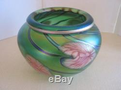 From Lotton Studios Signed Jerry Heer 2002 Green Vase Bowl Pink Heart Lilies