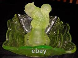 Frosted Uranium Squirrel in Art Deco Float Bowl Made by Sowerby Glass Works