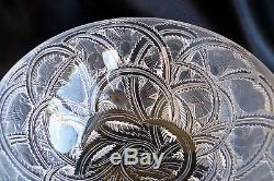 Gorgeous Large Lalique France Pinson Bowl with Finches Birds & Leaves