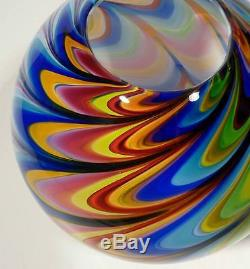 Hand Blown Glass Art Bowl/vase, Made With Complex Murano Italian Cane Process